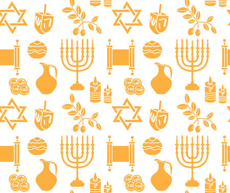 Hanukkah symbol seamless pattern. Hanukkah background with Menorah, Torah, Sufganiyot, Olives and Dreidel. Happy Hanukkah Festival of Lights, Feast of Dedication seamless texture. Vector illustration