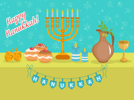 Happy Hanukkah greeting card, invitation, poster. Hanukkah Jewish Festival of Lights. Hanukkah Greeting Card with Menorah, Sufganiyot, Olives and Dreidel. Vector illustration