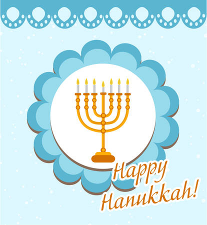 Happy Hanukkah greeting card, invitation, poster. Hanukkah Jewish Festival of Lights, Feast of Dedication. Hanukkah Greeting Card with Menorah. Vector illustration