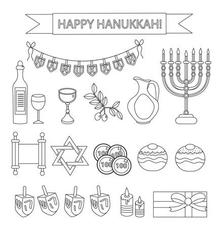 Hanukkah set line icons. Chanukah line Icons with Menorah, Torah, Sufganiyot, Olives and Dreidel. Happy Hanukkah Festival of Lights, Modern Line icons, design elements. Vector illustration 免版税图像 - 67487210