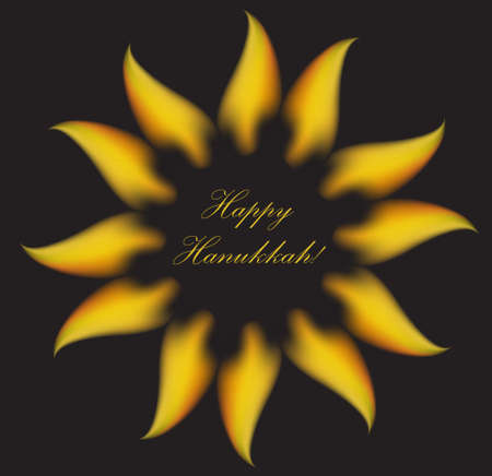 Happy Hanukkah greeting card, invitation, poster. Hanukkah Jewish Festival of Lights, Feast of Dedication. Vector illustration