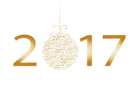 number 12: Happy New Year and Merry Christmas card with numbers 2017 poster, invitation, flyer. Vector illustration