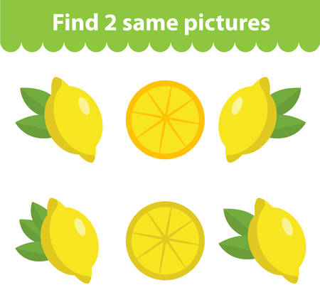 identical: Childrens educational game. Find two same pictures. Set of lemon, for the game find two same pictures. Vector illustration. Illustration