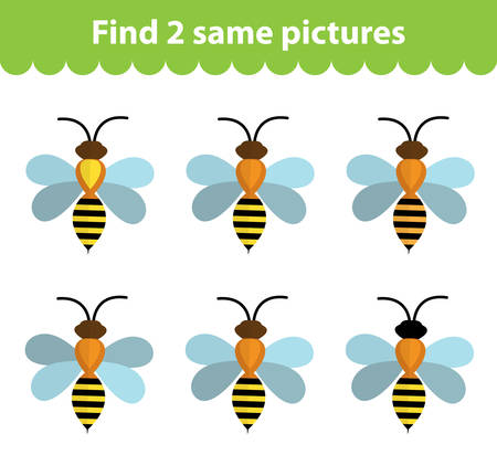 find: Childrens educational game. Find two same pictures. Set of bees, for the game find two same pictures. Vector illustration.