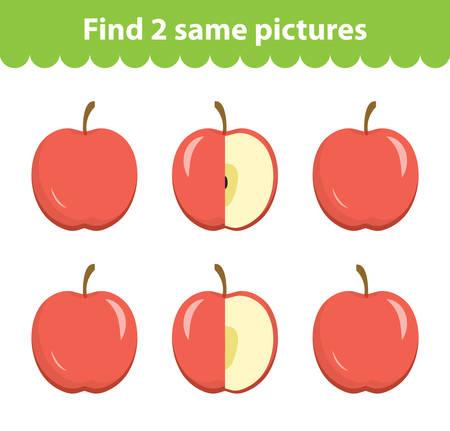 Childrens educational game. Find two same pictures. Set of apples, for the game find two same pictures. Vector illustration.