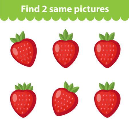 Childrens educational game. Find two same pictures. Set of strawberries, for the game find two same pictures. Vector illustration.