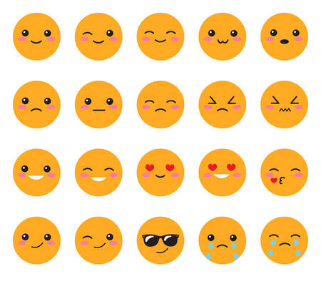 Set yellow emotions face. Set Japanese smiles. Round, yellow  face on a white background. Cute Collection emotions anime style. Vector illustration