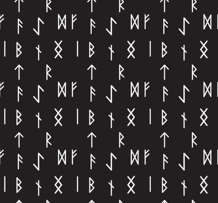 Runes seamless pattern. Runic alphabet wallpaper. Writing ancient background. Old Gothic seamless texture. Vector illustration