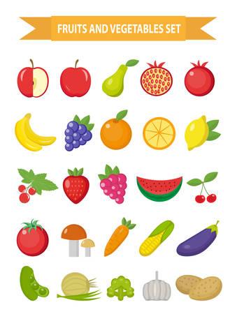 과일 및 야채 아이콘 집합 플랫 스타일. 과일, 딸기와 야채 흰색 배경에 고립 된 집합을 설정합니다. 과일과 채소. 채식주의 자 음식. 벡터 일러스트 레
