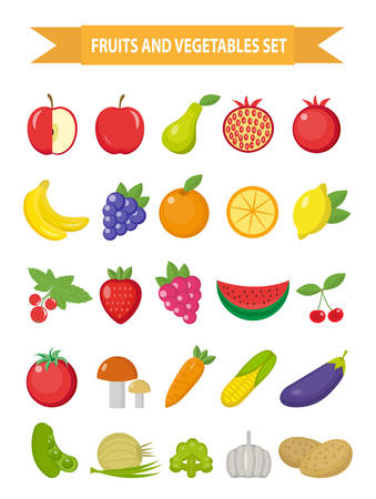 Fruits and vegetables icon set, flat style. Fruits, berries and vegetables set set isolated on a white background. Fruits and vegetables. Vegetarian food. Vector illustration Ilustração