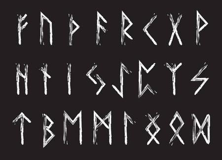germanic: Rune set of letters, runes alphabet. Runic alphabet. Writing ancient. Futhark. Vector illustration