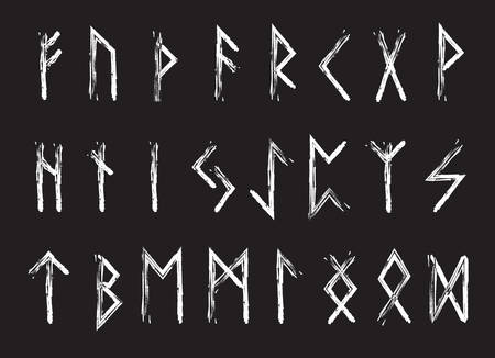 Rune set of letters, runes alphabet. Runic alphabet. Writing ancient. Futhark. Vector illustration