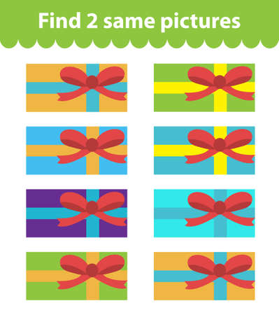 find: Childrens educational game. Find two same pictures. Set of gifts, for the game find two same pictures. Vector illustration. Illustration