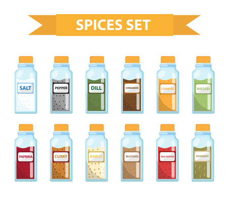 seasonings: Set spices in jars, flat style. Set of different spices, herbs in a glass jar, isolated icons on a white background. Spices, seasonings in a glass jar, a design element. Vector illustration