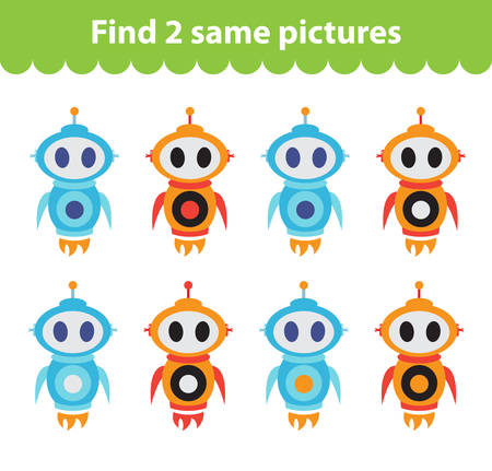 Childrens educational game. Find two same pictures. Set of the robot, for the game find two same pictures. Vector illustration. Illustration