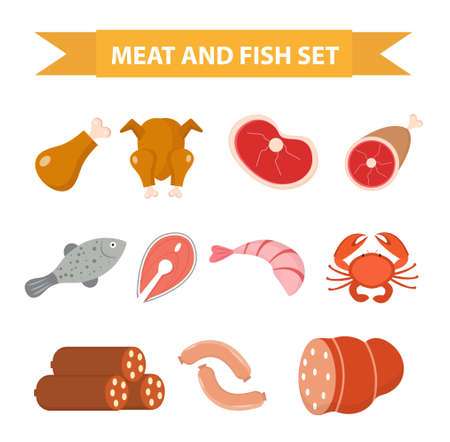 Meat and seafood icon set, flat style. Meat and fish set isolated on a white background. Meat and sausage, protein foods. Vector illustration Illustration