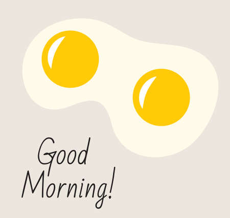 huevos estrellados: Postal, cartel con la inscripción Buenos días. huevos fritos, desayuno, buen concepto de la mañana. Icono de los huevos fritos. ilustración vectorial Vectores