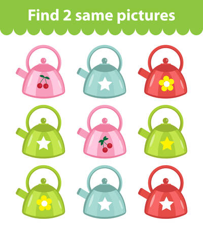 find: Childrens educational game. Find two same pictures. Set of Kettle, for the game find two same pictures. Vector illustration.