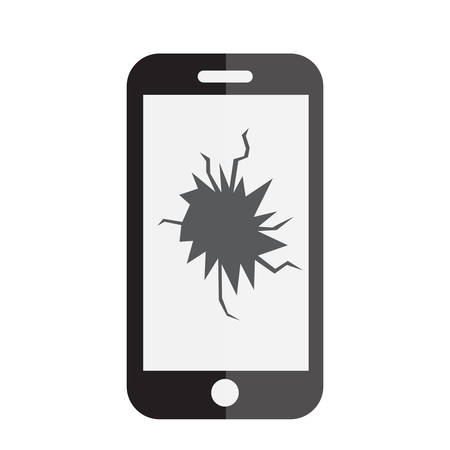 broken screen: Broken phone screen icon. Phone with a broken screen icon. Flat style. Vector illustration