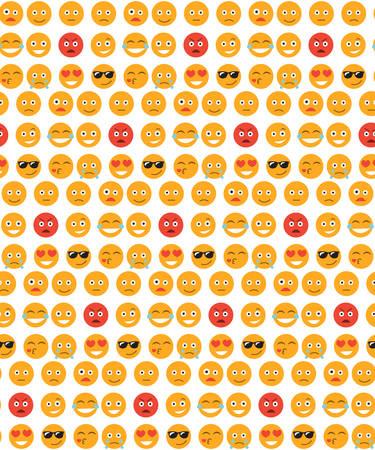 笑顔のシームレスなパターン。感情の背景。黄色の丸い感情は笑顔シームレスなテクスチャです。ベクトル図
