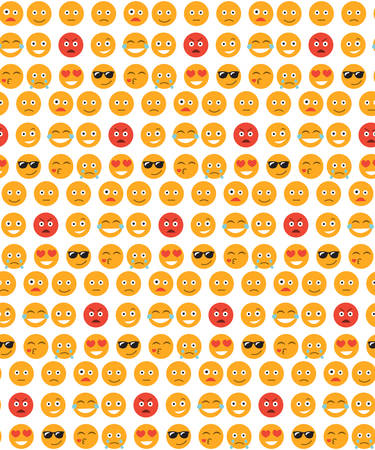 Smile seamless pattern. Emotions background. Yellow round emotion smiles seamless texture. Vector illustration