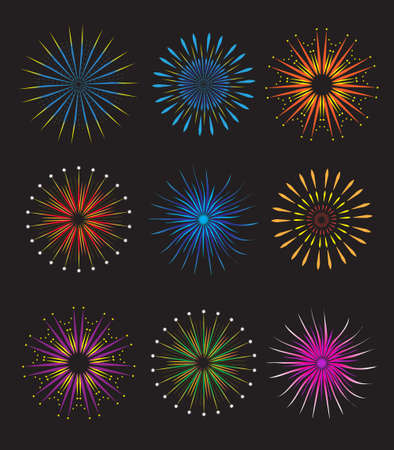Fireworks icons set. Fireworks vector on black background. Holiday and party firework icons collection. Vector illustration.