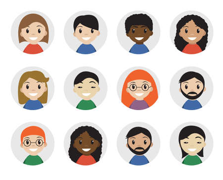 interracial: Icons interracial people, flat style. International people icons, avatar. Different people icon. Vector illustration
