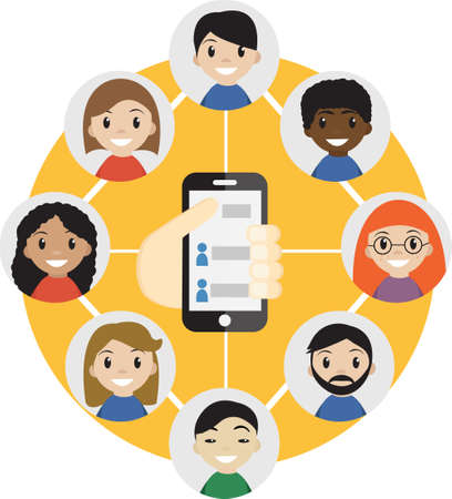choose person: Hand holding a cell phone with  contacts of people concept. Choose person. Contact list, phonebook icon. Group of people. Call a friend icon. Social Communication Network, group of friends.Vector