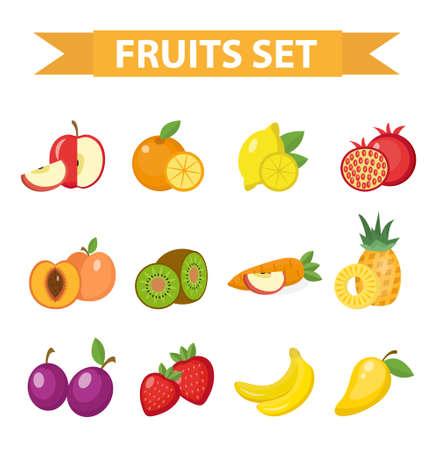 フルーツは、ベクター グラフィックのセットです。果物アイコン セットは、フラット スタイル。フルーツ デザイン要素。