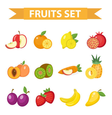 Fruit set of vector illustration. Fruits icon set, flat style. Fruits design element.