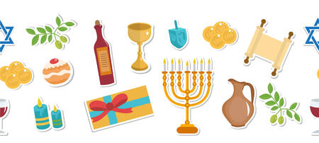 Happy Hanukkah seamless poster. Happy Hanukkah greeting card, flyer, invitation. Hanukkah is a Jewish holiday. Greeting Card with Menorah, Sufganiyot, Dreidel. Vector illustration