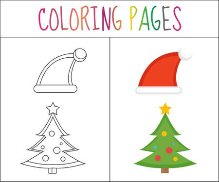 coloring book page christmas santa hats and christmas tree sketch and color version