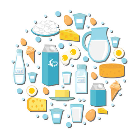 Dairy products icon set in the shape of circle. Flat style. Dairy products isolated on white background. Milk and Cheese collection. Farm foods. Vector illustration Illustration