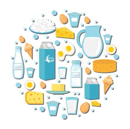 Zuivelproducten pictogram in de vorm van een cirkel. Vlakke stijl. Zuivelproducten op een witte achtergrond. Melk en kaas collectie. Farm voedingsmiddelen. vector illustratie