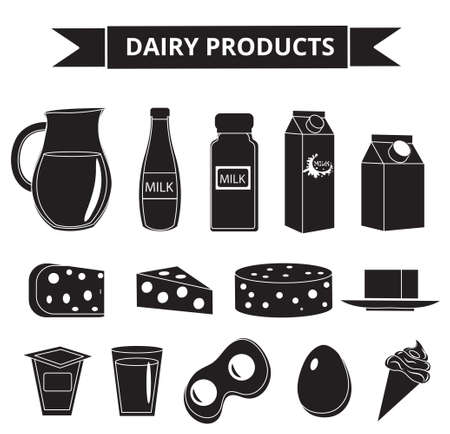 sour cream: Dairy products icon set silhouette style. Milk products isolated on white background. Milk and Cheese collection. Farm foods. Vector illustration