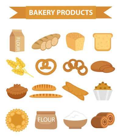 bagels: Bakery products icon set, flat style. Set of different bread and pastry isolated on white background. Flour products. Loaf, baguette, pretzel, bagels, muffins, flour. Vector illustration