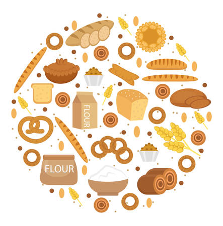 Bakery products icon set in a round shape, Flat style. Set of different bread and pastry isolated on white background. Flour products. Vector illustration