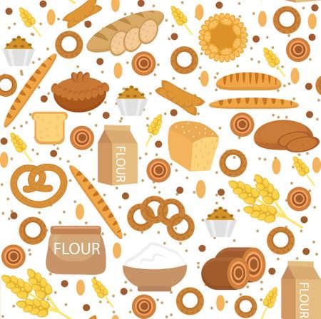 Bakkerij naadloos patroon. Vlakke stijl. Brood en broodjes textuur. Meelproducten eindeloze achtergrond. brood en gebak achtergrond. Vector illyustration Stock Illustratie