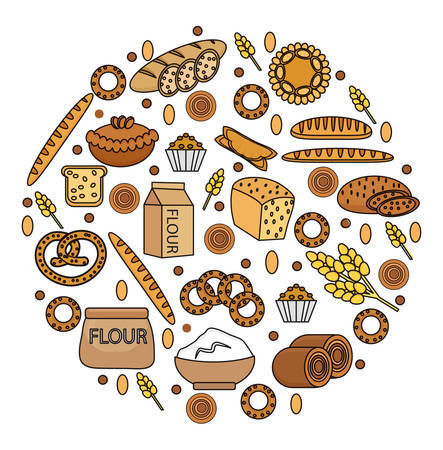Bakery products icon set in a round shape, line, outline, doodle style. Set of different bread and pastry isolated on white background. Flour products. Vector illustration Illustration