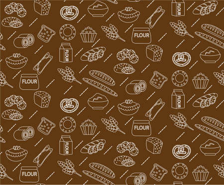 baked goods: Bakery seamless pattern. Line, outline, doodle style. Bread and buns texture. Flour products endless background. bread and pastry backdrop. Vector illustration