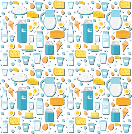 Dairy product seamless pattern. Flat style. Milk products background. Milk and Cheese texture. Foods endless backdrop. Vector illustration