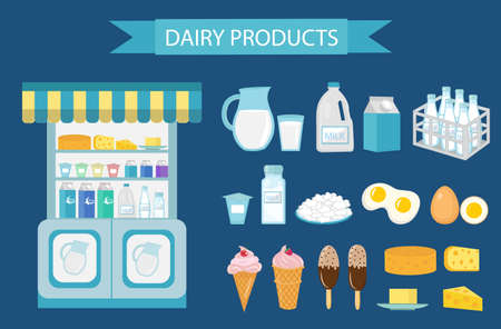 cottage cheese: Milk products icon set, flat style. Milk products isolated on white background. Milk and cheese showcase, store shelf. Farm foods. Vector illustration