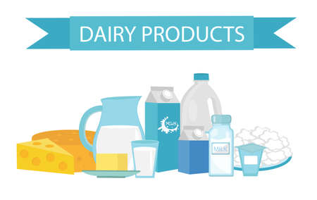 milk products: Milk products still-life. Flat style. Dairy products isolated on white background. Milk and cheese. Farm products. Vector illustration