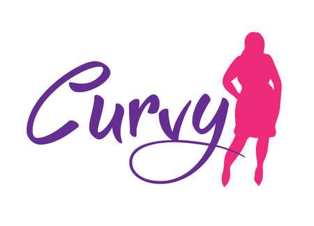 Logo più la donna di formato. Simbolo curvy donna, logo. Illustrazione vettoriale Logo