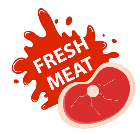 ground beef: Fresh meat with a splash, icon flat style. Fresh meat emblem sticker isolated on white background. Raw meat with blood. Vector illustration