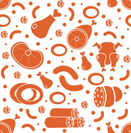 meats: Meat products seamless pattern, flat style. Meats and sausage endless background, texture. Vector illustration.
