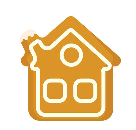Gingerbread House vector icon. Isolated on white background