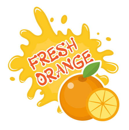 orange splash: Fresh orange splash icon,  sticker. Fruit splashing isolated on white background. Vector illustration