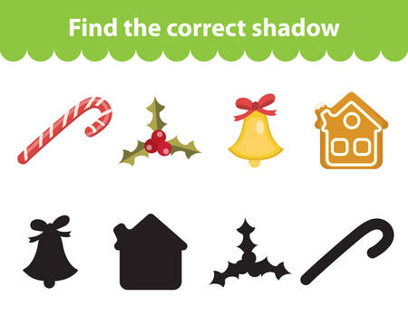 the children s: Children s educational game, find correct shadow silhouette. Christmas set for game to find the right shade. Vector illustration Illustration