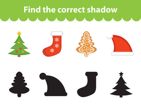 Children s educational game, find correct shadow silhouette. Christmas set for game to find the right shade. Vector illustration Illustration